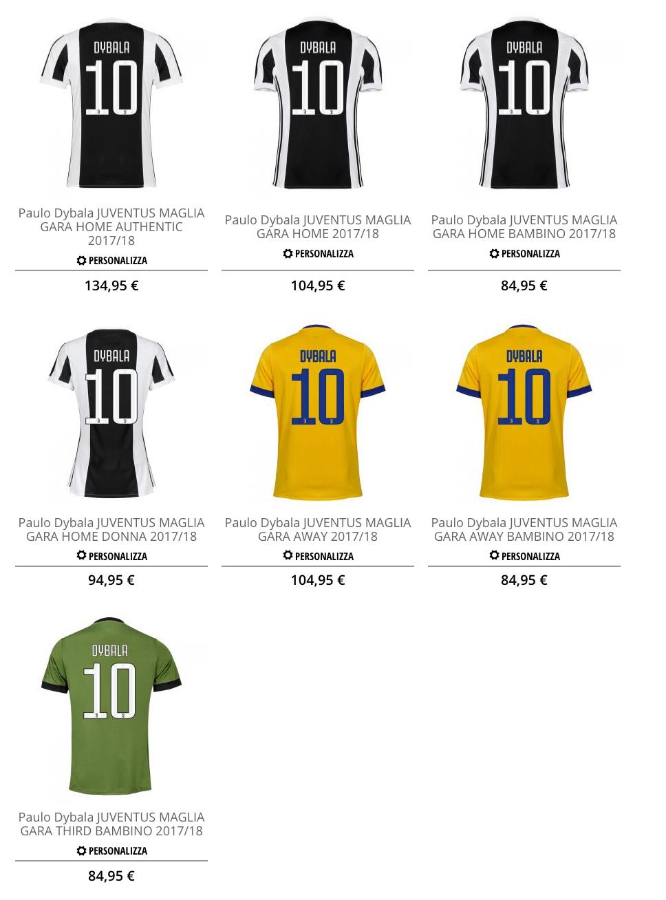 DYBALA, la nuova maglia numero 10 già in vendita nell'Official ...
